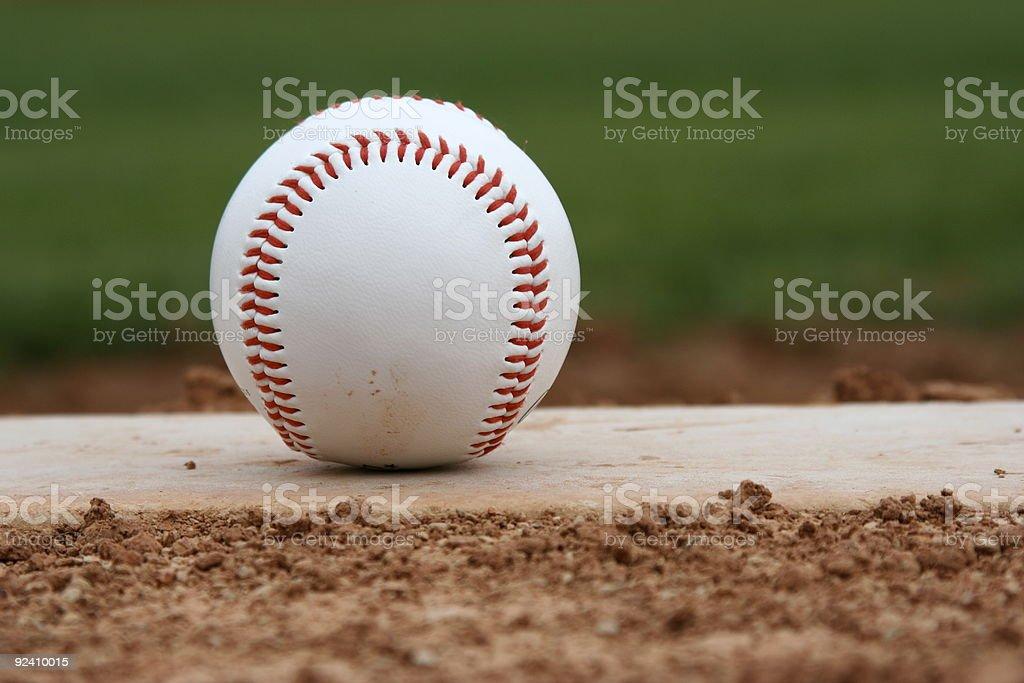Baseball on the mound stock photo