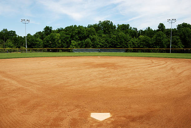 Baseball or softball field Baseball or softball field looking out from home base. Three hundred foot fence and two sets of night lights. infield stock pictures, royalty-free photos & images