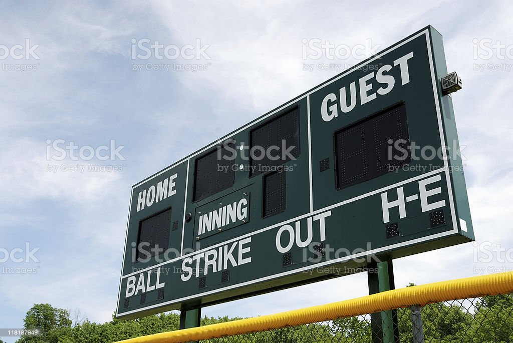 Baseball or softball scoreboard stock photo