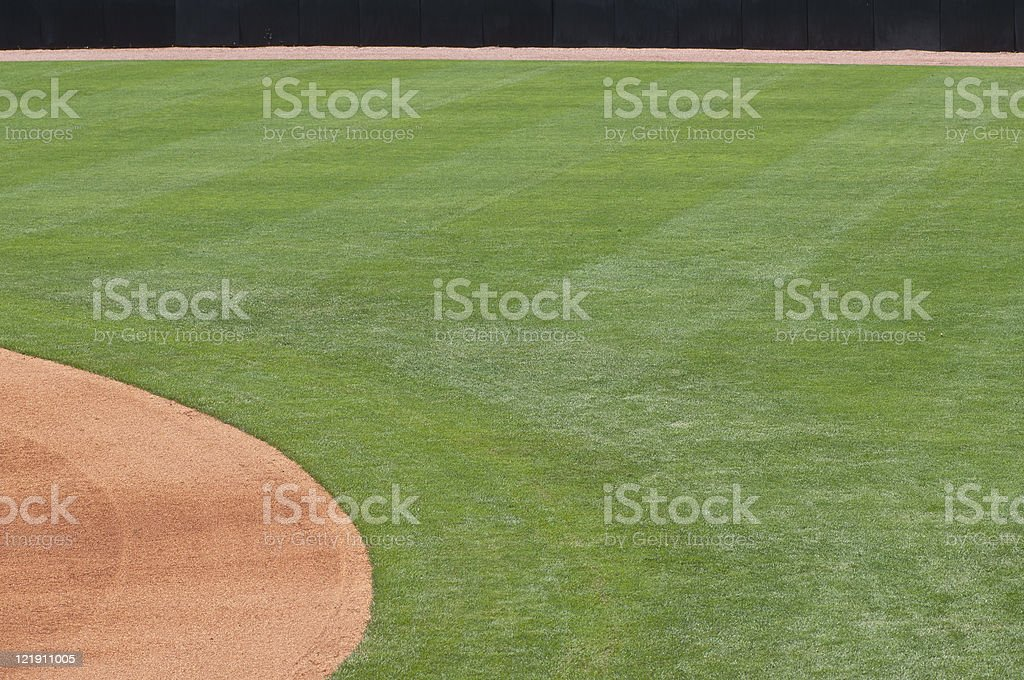 Baseball Outfield of Baseball Field at Baseball Game stock photo