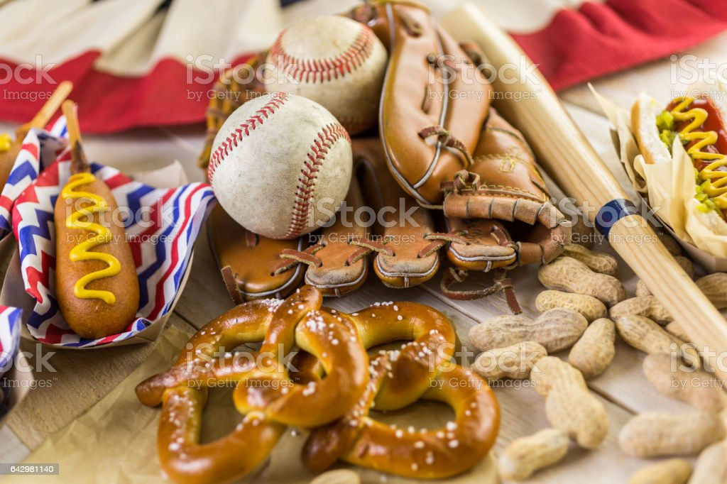 Baseball party food stock photo