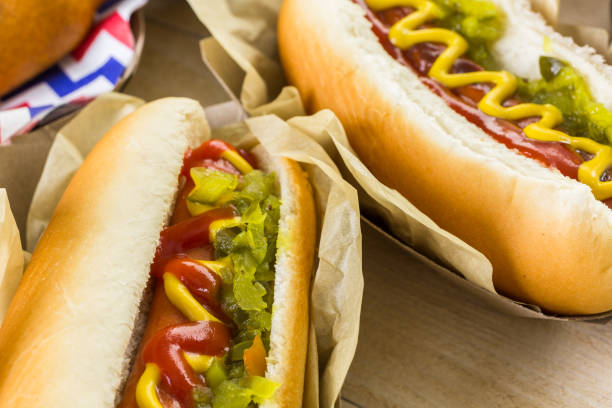 baseball party food with balls and glove - hot dog stock pictures, royalty-free photos & images