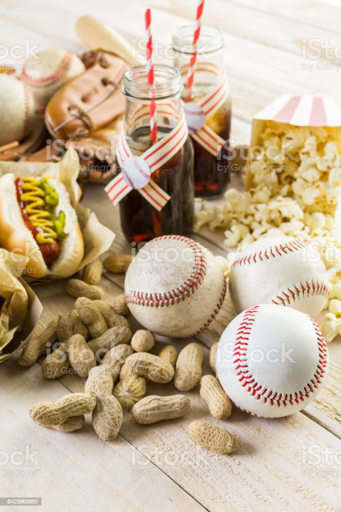 Baseball party food with balls and glove stock photo