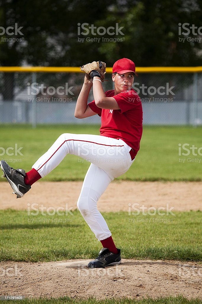 Baseball Pitcher Kicks into Delivery royalty-free stock photo