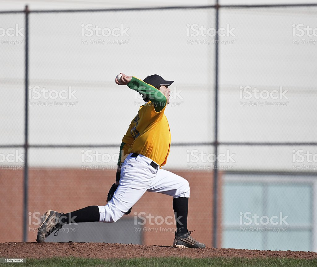 Baseball Pitcher - Live Game Action royalty-free stock photo