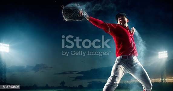 Image of a baseball batter ready to throw baseball. He is wearing unbranded generic baseball uniform. The game takes place on outdoor baseball stadium under stormy evening sky at sunset. The stadium is made in 3D.