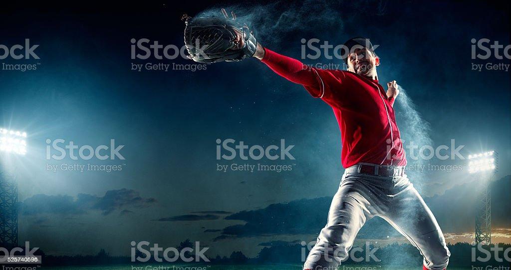 Baseball pitcher on stadium stock photo