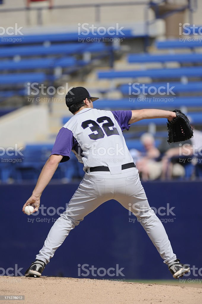 A baseball pitcher throws during a baseball game.