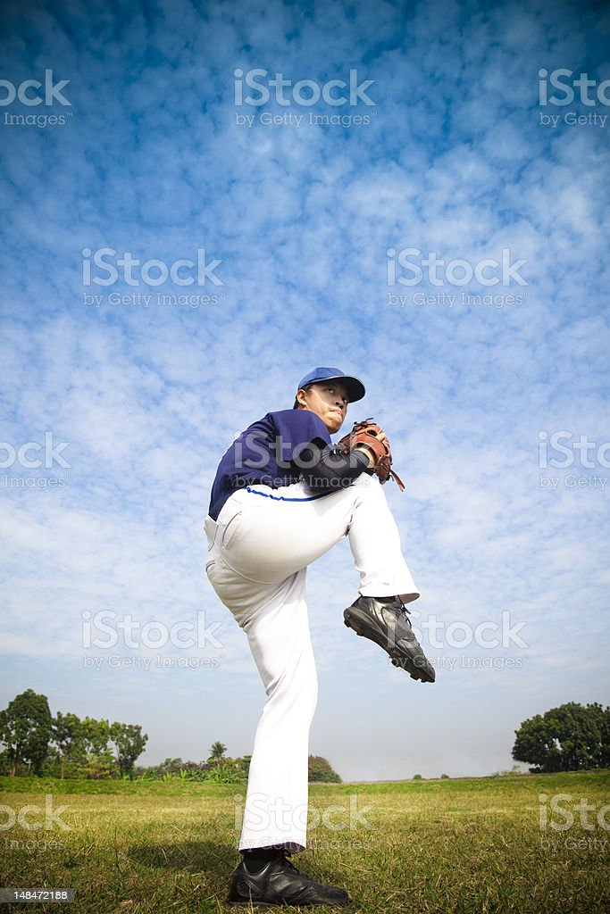 baseball pitcher ready for throwing stock photo