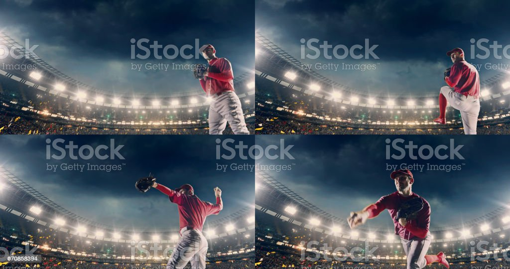 Baseball pitcher throwing a ball during game stock photo