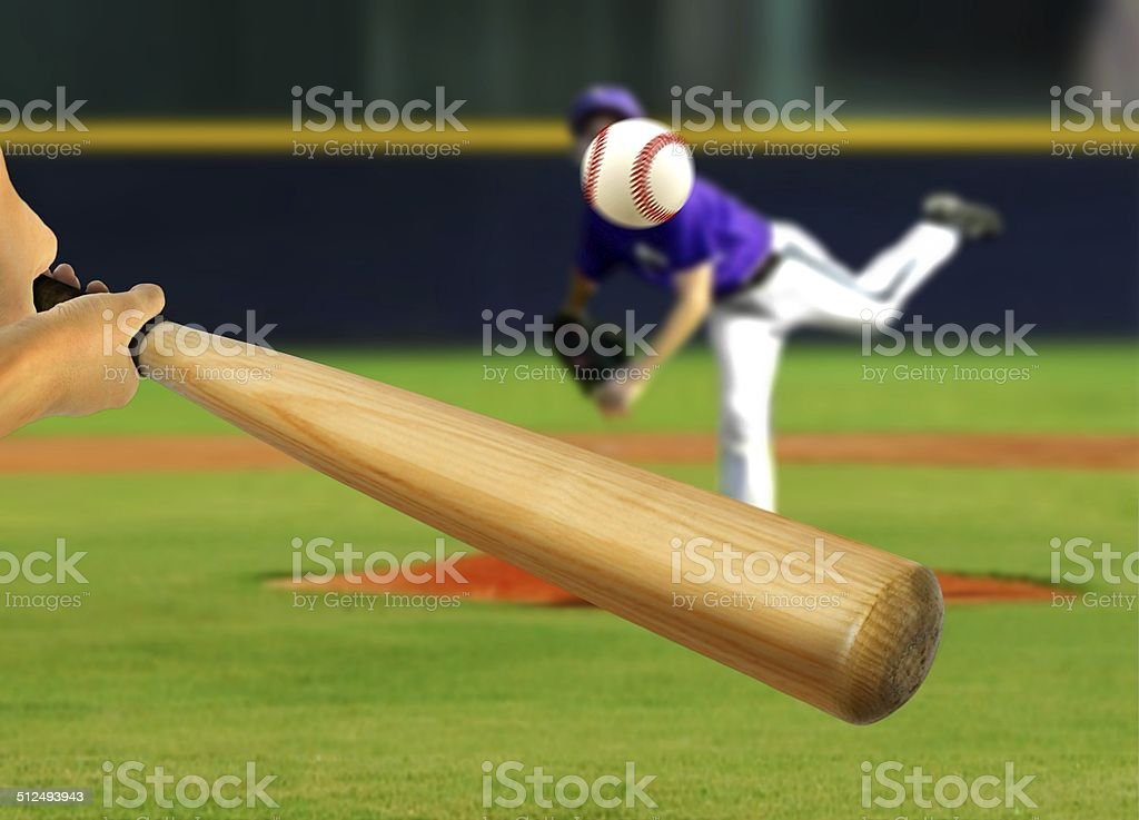 Baseball Pitcher Throwing Ball to Batter