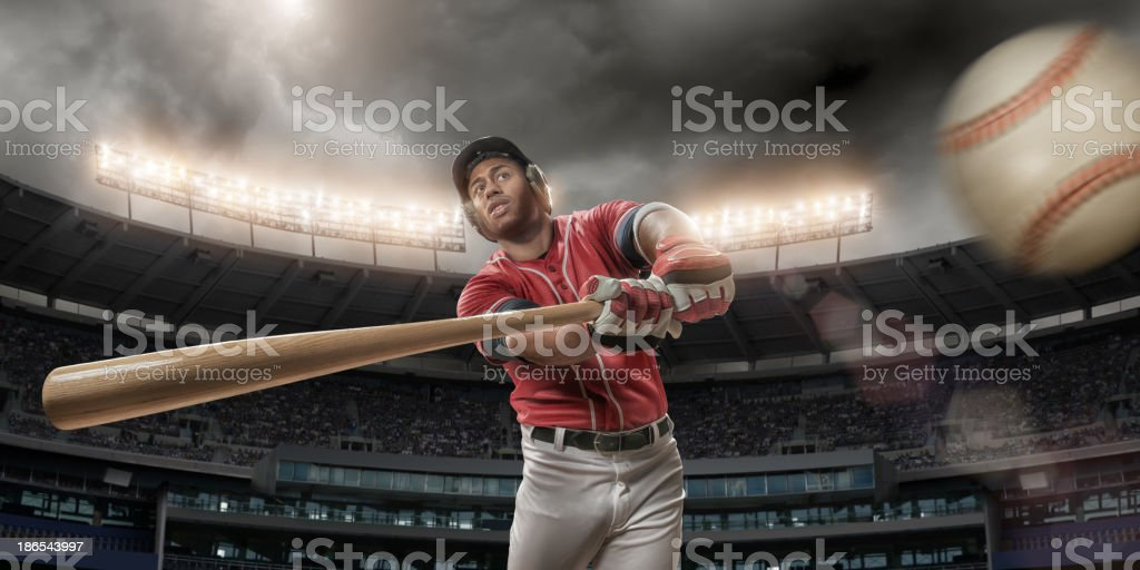 Baseball Player About To Hit Baseball stock photo