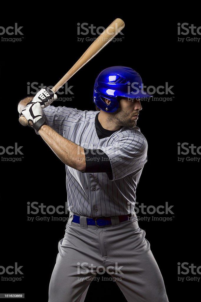 Jugador De Béisbol En Un Azul Uniforme Stock Foto e Imagen de Stock ... 3a3e7539df6