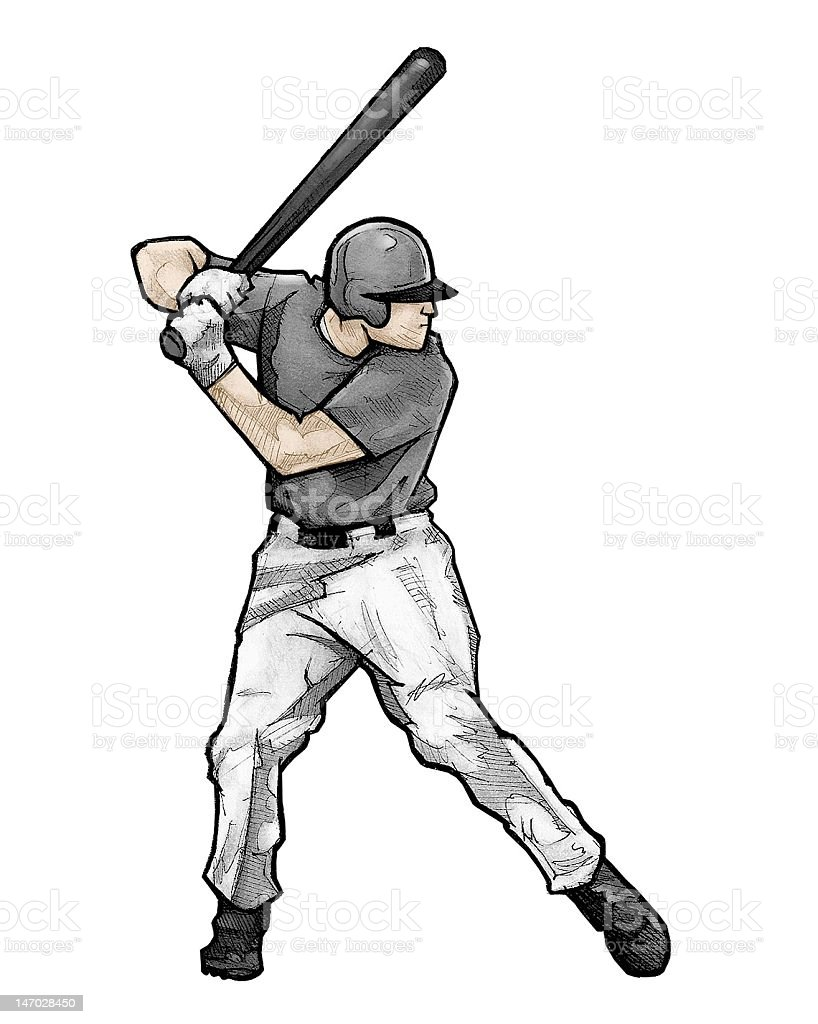 Baseball player batting (Raster Illustration) royalty-free stock photo