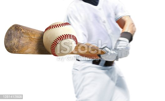 Baseball player hitting ball with bat over white background