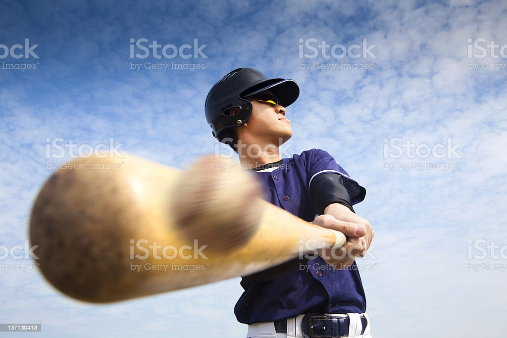 baseball player hitting stock photo