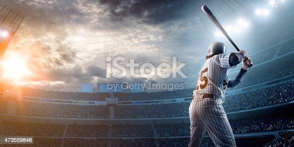 istock Baseball player in stadium 473559846