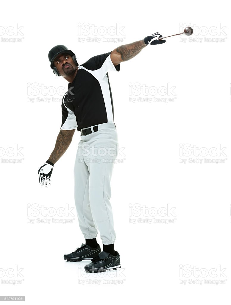 Baseball player in various actions stock photo