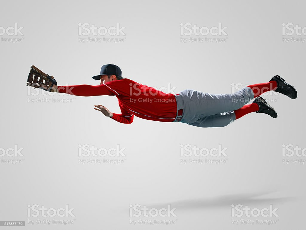 Baseball player isolated on white stock photo