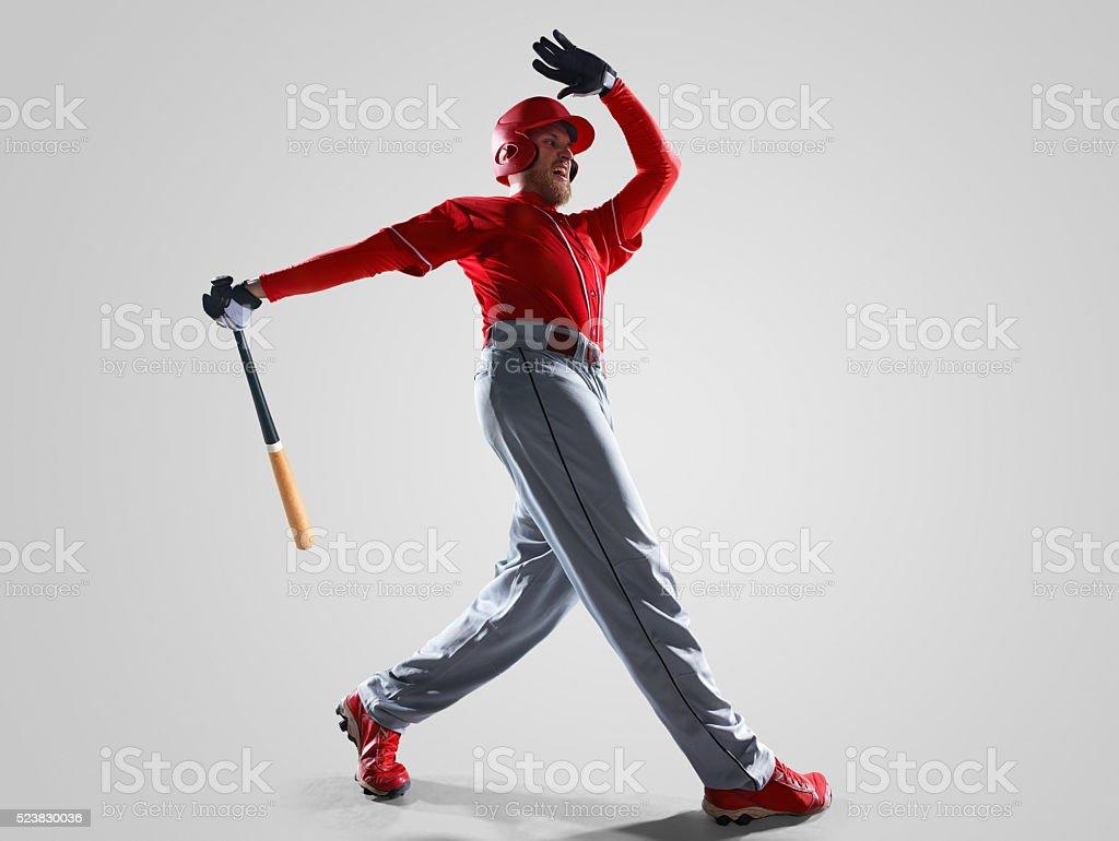Baseball player isolated on white stock photo