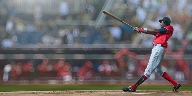 joueur de baseball frapper juste balle au cours du match dans la patinoire en plein air - baseball photos et images de collection