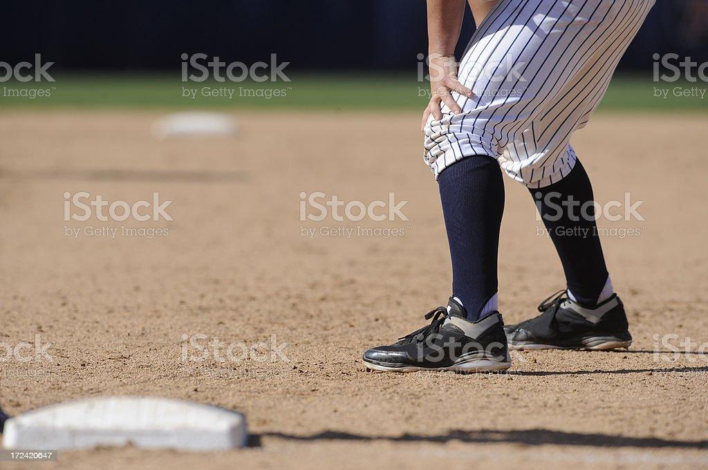 Baseball player leading off royalty-free stock photo