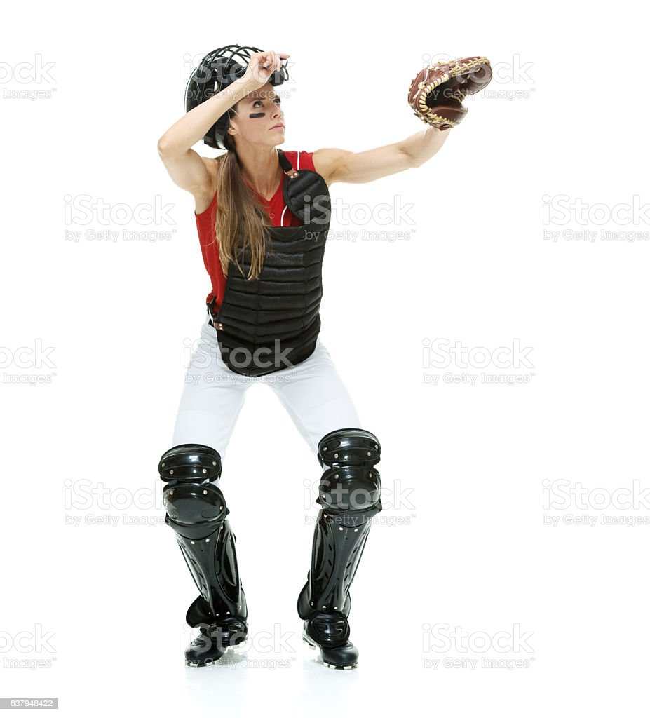 Baseball player looking up stock photo