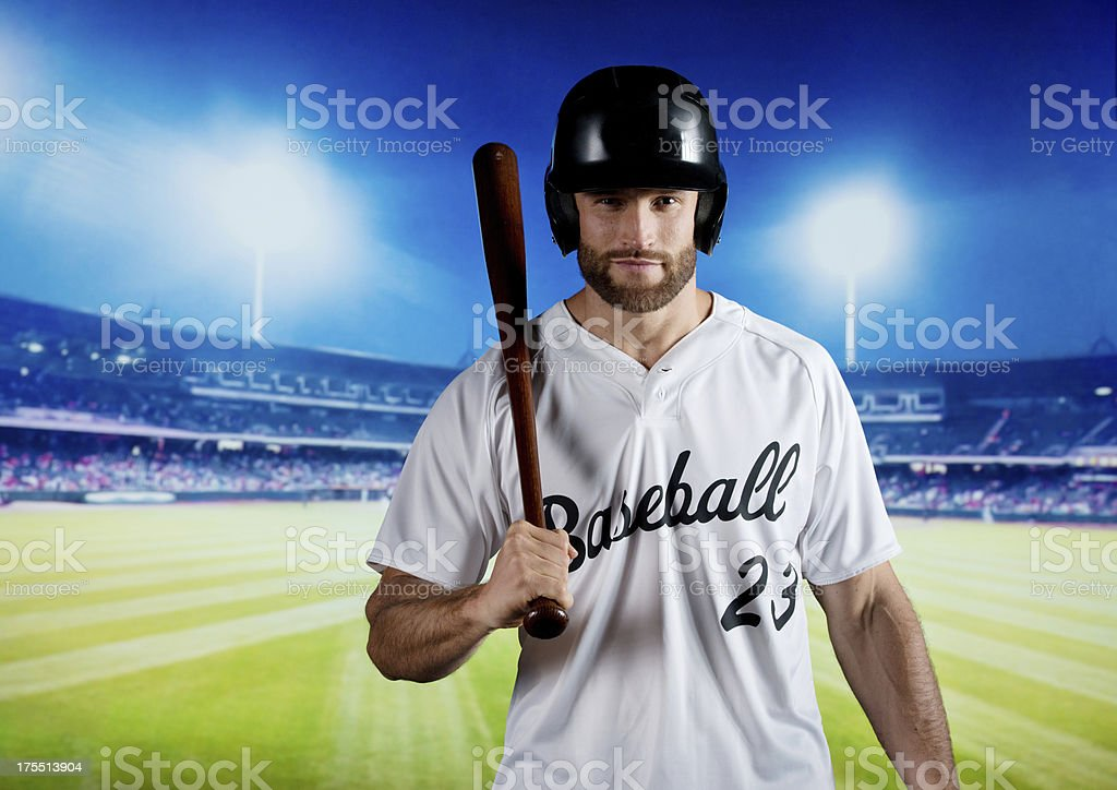 Baseball player on playground royalty-free stock photo