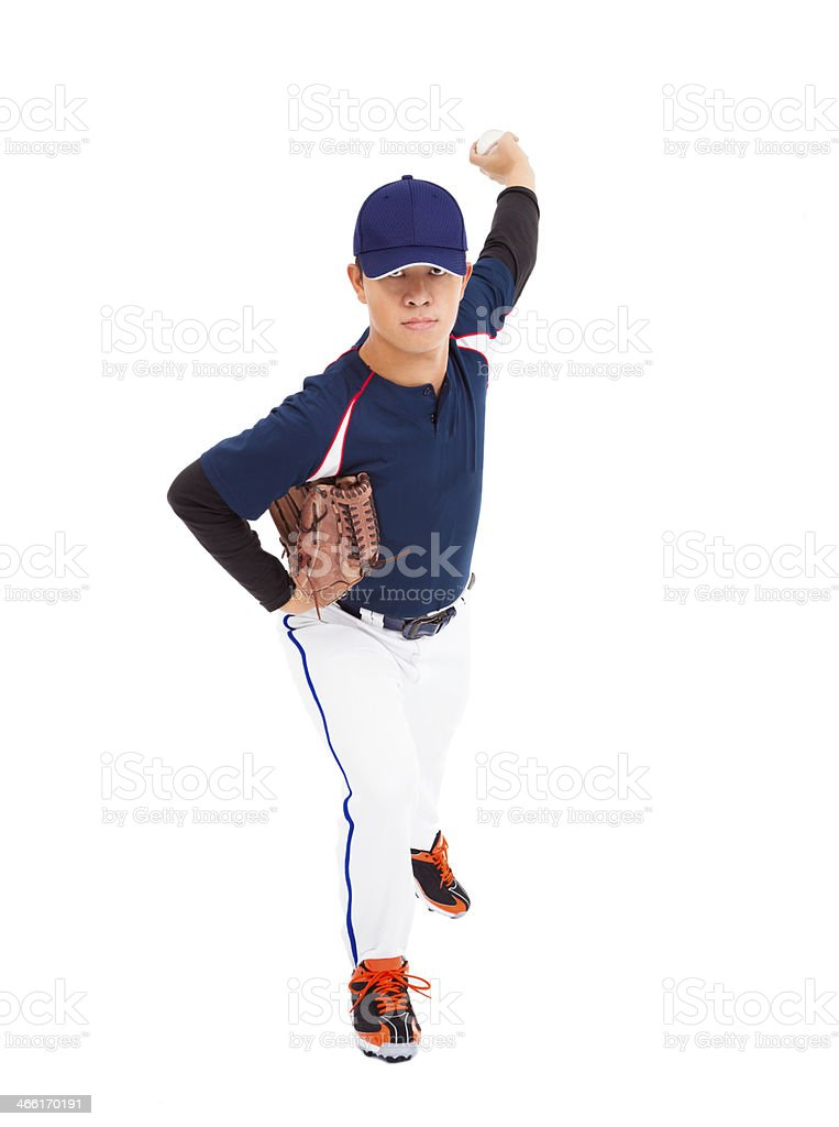 full length of baseball player pitcher throwing ball.isolated on white