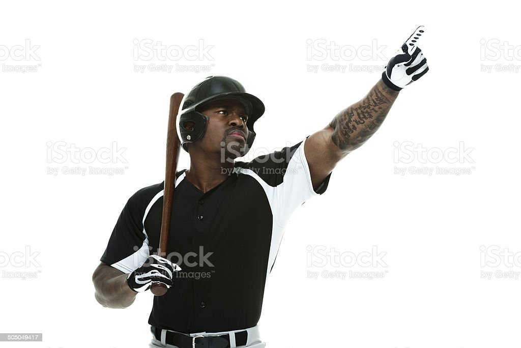 Baseball player pointing away stock photo