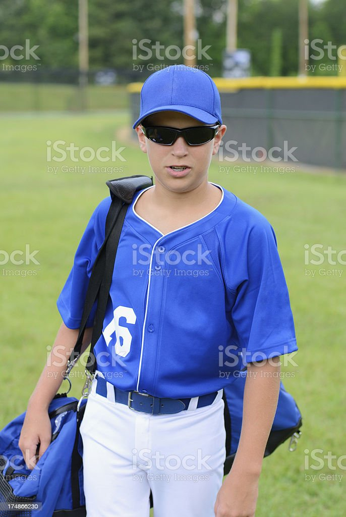 Baseball player ready for game royalty-free stock photo
