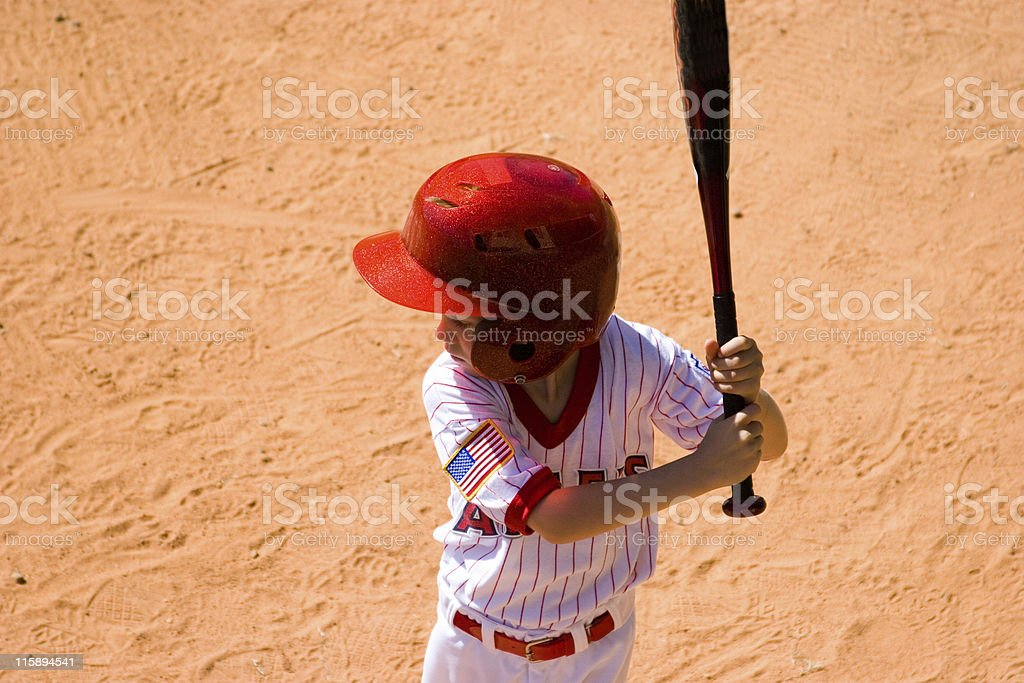 Baseball player ready to bat. Little league boy. Overhead view. royalty-free stock photo