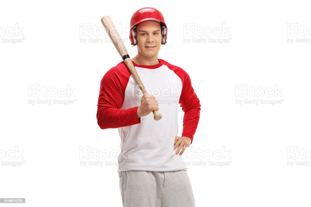 Baseball player with a bat stock photo