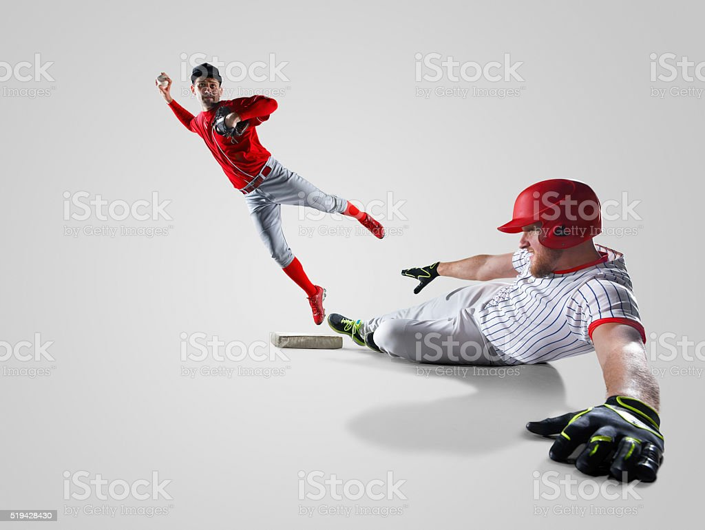 Baseball players isolated on white stock photo