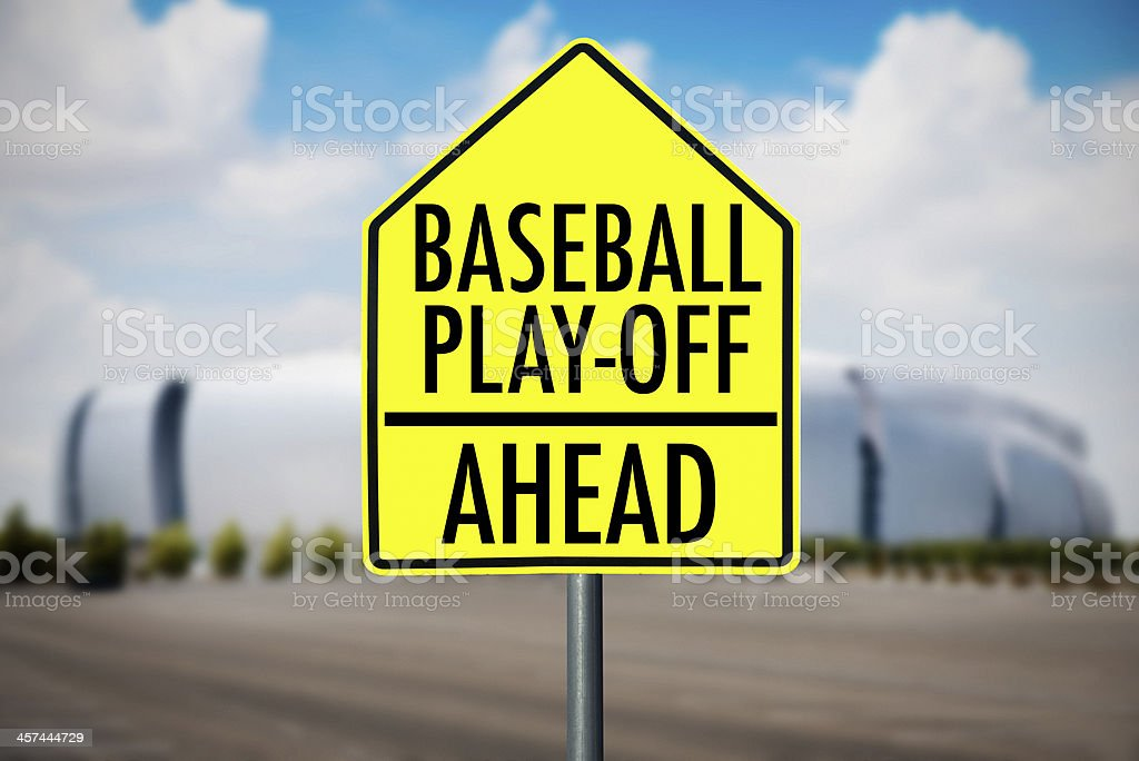 baseball playoff road sign in front of a stadium stock photo