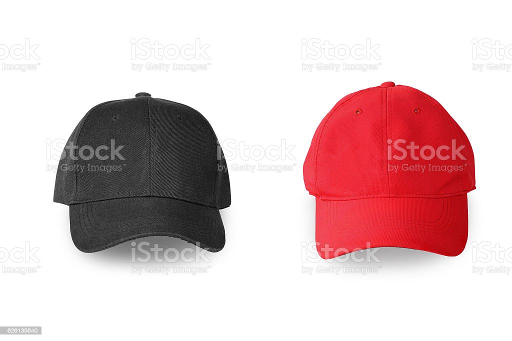 1d1a3d8b Baseball red and black cap isolated on white background. royalty-free stock  photo