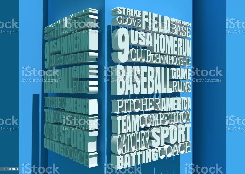 Baseball Relative Words Cloud stock photo