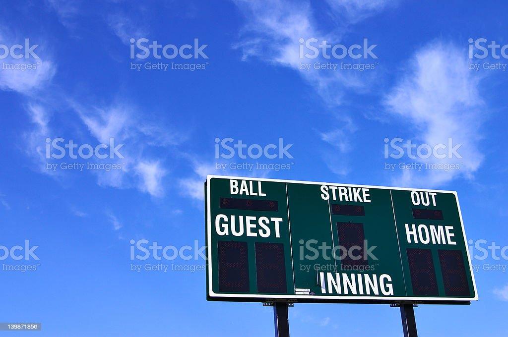 Baseball scoreboard and blue sky royalty-free stock photo
