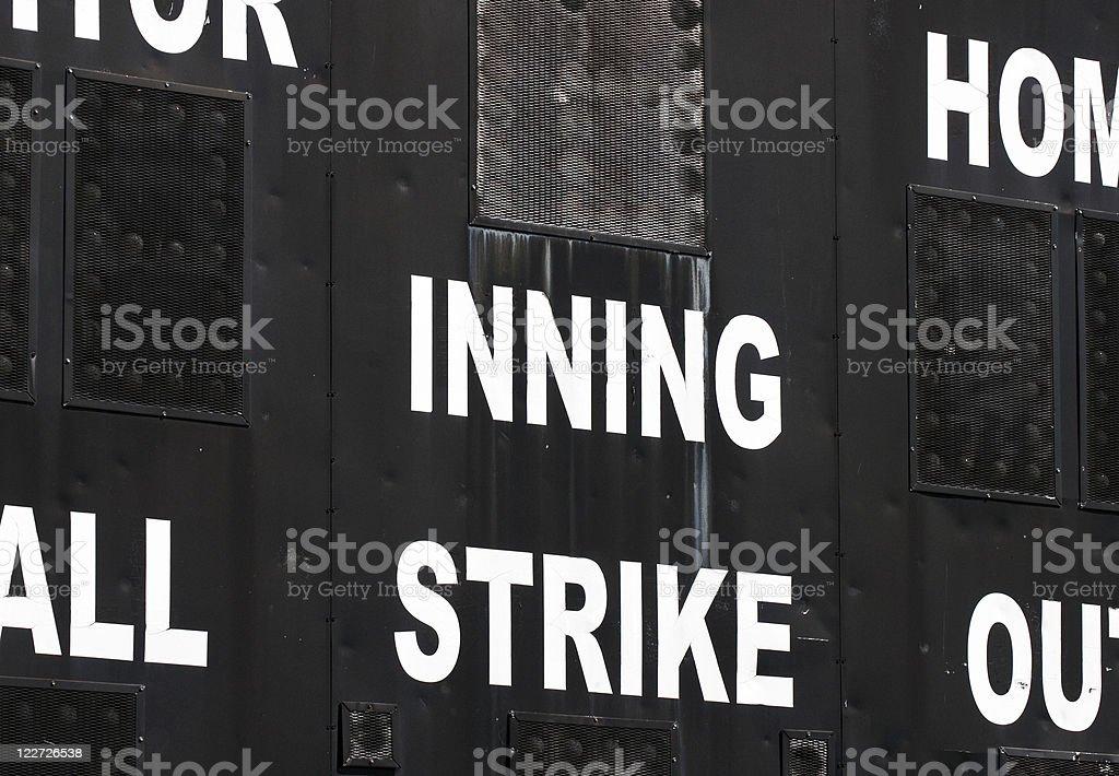 Baseball Scoreboard stock photo