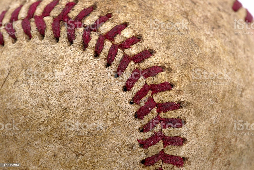 Baseball seams macro royalty-free stock photo