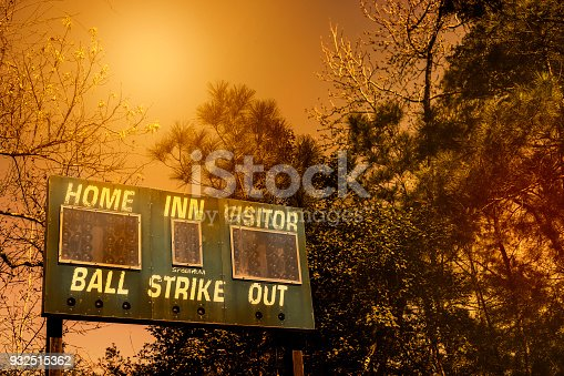 Spring and summer baseball season is here.  Weathered scoreboard in late afternoon sun.  No people.  Great background image.