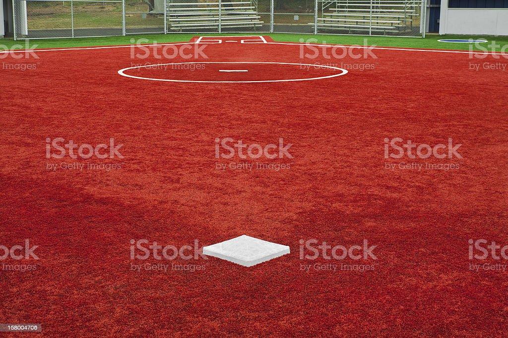 Baseball Second Base Towards Home Plate stock photo