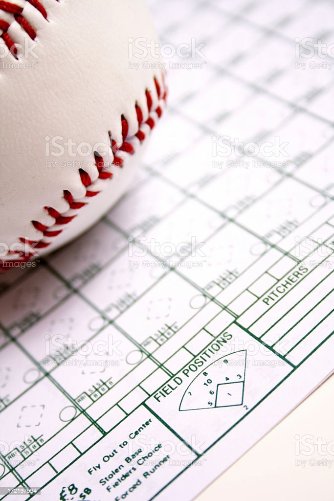 A baseball set on top of a piece of paper stock photo