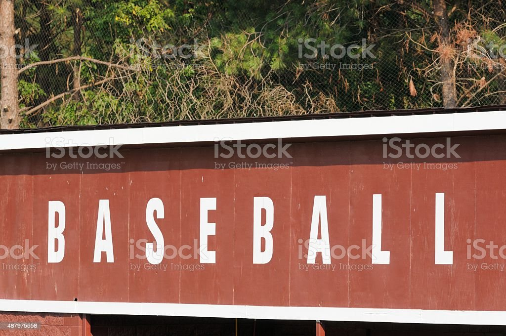 Baseball sign on dugout roof royalty-free stock photo