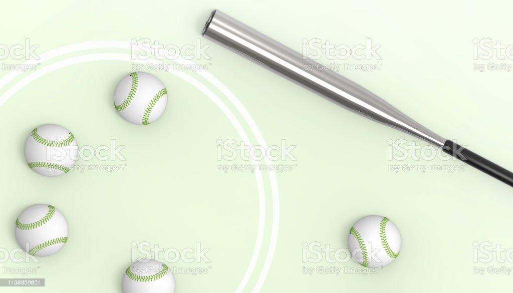Baseball Sport Art concept on pastel Green background stock photo
