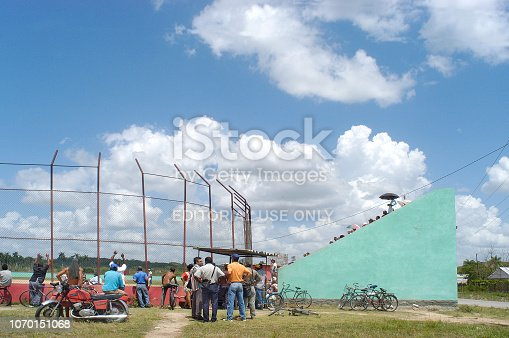 Trinidad,Cuba-August 10,2017: Baseball stadium with spectators as well outside as inside