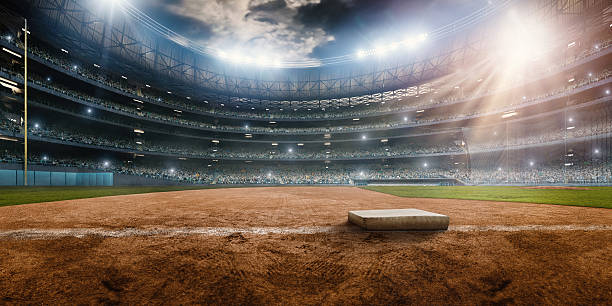 Baseball stadium A wide angle of a outdoor baseball stadium full of spectators under a stormy night sky. The base is seen. The image has depth of field with the focus on the foreground part of the pitch. Stadium and all elements are made in 3D. baseball sport stock pictures, royalty-free photos & images