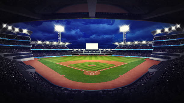 baseball stadium under roof view with fans stock photo