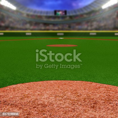 Baseball stadium full of fans in the stands with copy space. Deliberate focus on foreground infield dirt clay with shallow depth of field on background. Floodlights flare for effect and copy space. Fictitious stadium created in Photoshop.