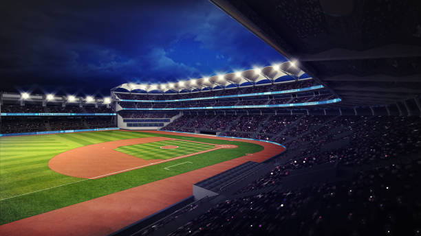 baseball stadium with fans under roof tribune view stock photo